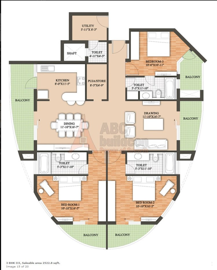 Raheja Revanta Floor Plan 3 BHK + Utility + Pooja Room – 2522 Sq. Ft.