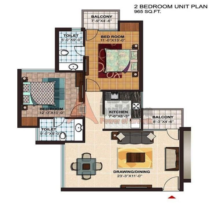 Ramprastha Atrium Floor Plan 2 BHK – 965 Sq. Ft.