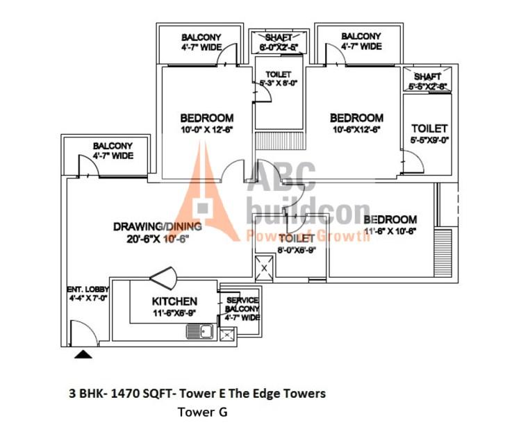 Ramprastha Edge Towers Floor Plan 3 BHK – 1470 Sq. Ft.