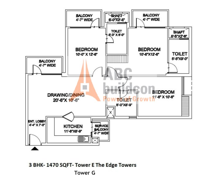 Ramprastha Edge Towers Floor Plan 3 BHK – 1470 Sq. Ft.