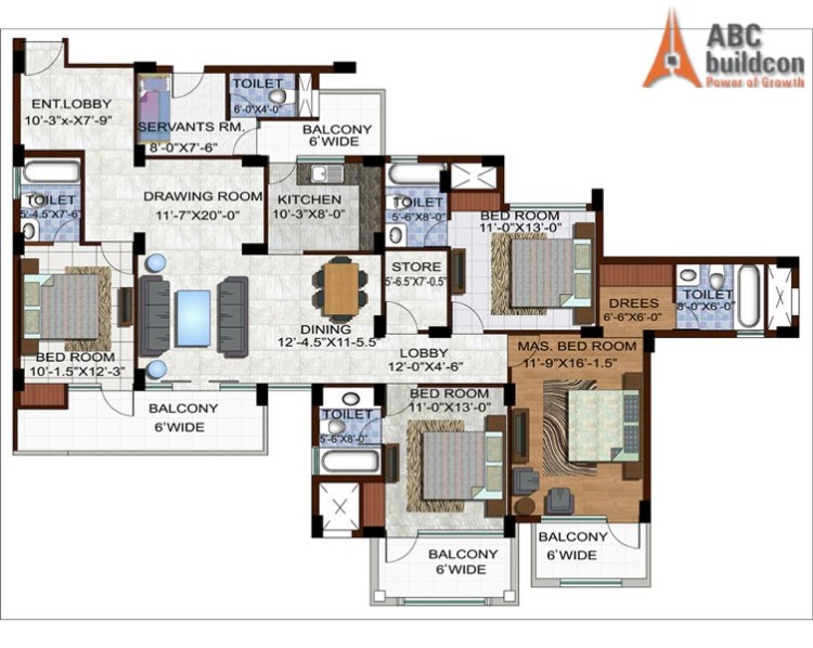 Ramprastha Edge Towers Floor Plan 4 BHK +S.R + Store – 2390 Sq. Ft.