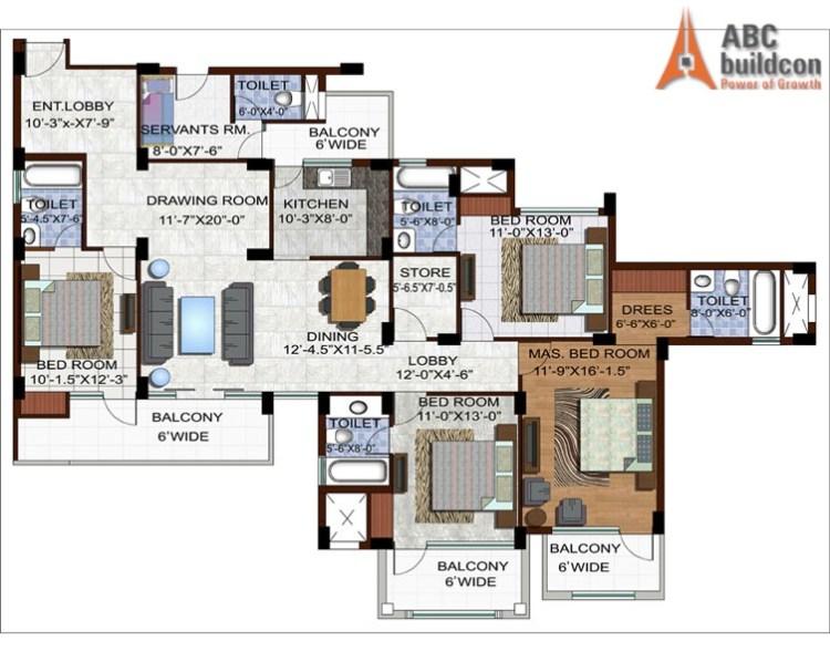 Ramprastha Edge Towers Floor Plan 4 BHK +S.R + Store – 2390 Sq. Ft.