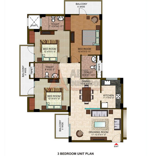 Ramprastha View Floor Plan 3 BHK – 1485 Sq. Ft.