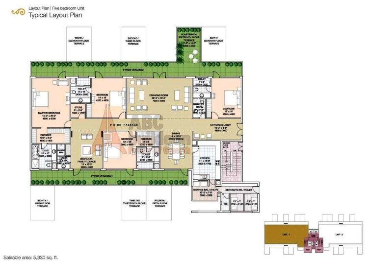 Salcon The Verandas Floor Plan 5 BHK + S.R + Store – 5330 Sq. Ft.