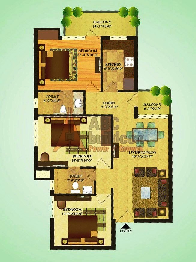 Sare Green Parc Floor Plan 3 BHK – 1180 Sq. Ft.