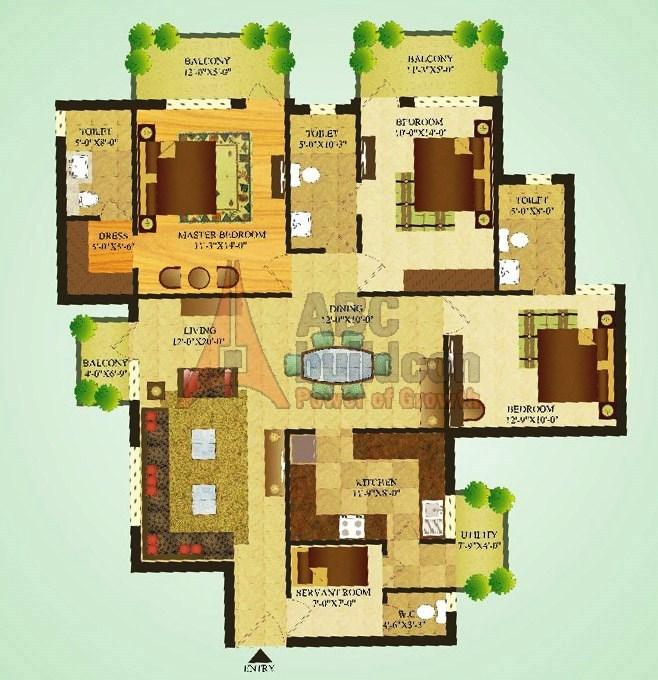 Sare Green Parc Floor Plan 3 BHK + S.R – 1665 Sq. Ft.