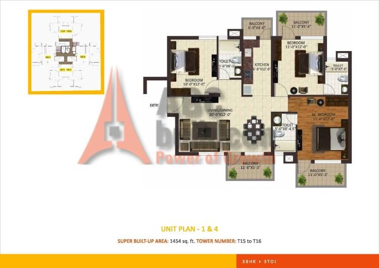 Sare Petioles Floor Plan 3 BHK – 1454 Sq. Ft.