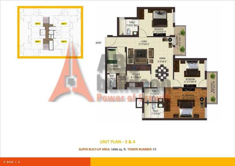 Sare Petioles Floor Plan 3 BHK + S.R – 1666 Sq. Ft.