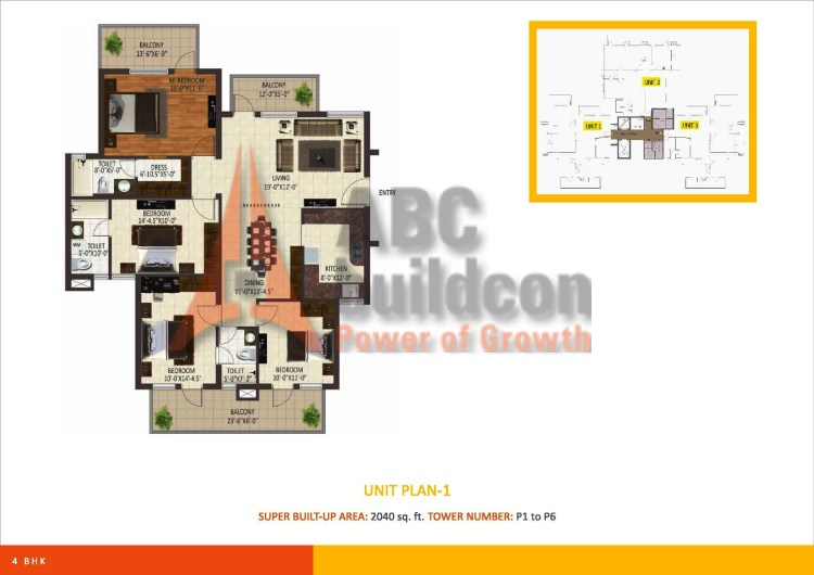 Sare Petioles Floor Plan 4 BHK – 2040 Sq. Ft.