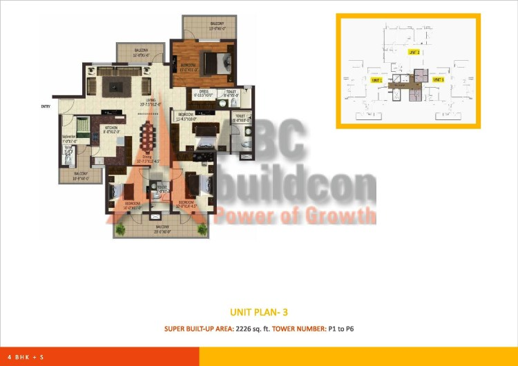 Sare Petioles Floor Plan 4 BHK – 2226 Sq. Ft.