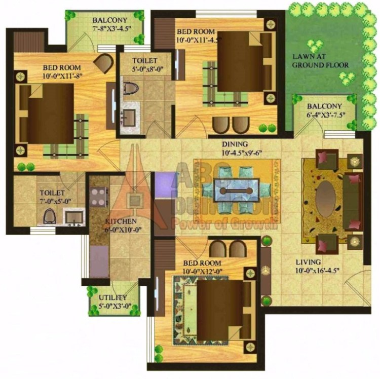 Sare Royal Greens Floor Plan 3 BHK + Utility – 1150 Sq. Ft.