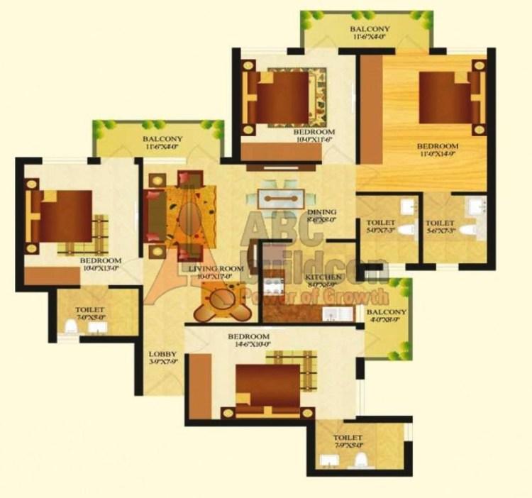 Sare Royal Greens Floor Plan 4 BHK – 1620 Sq. Ft.