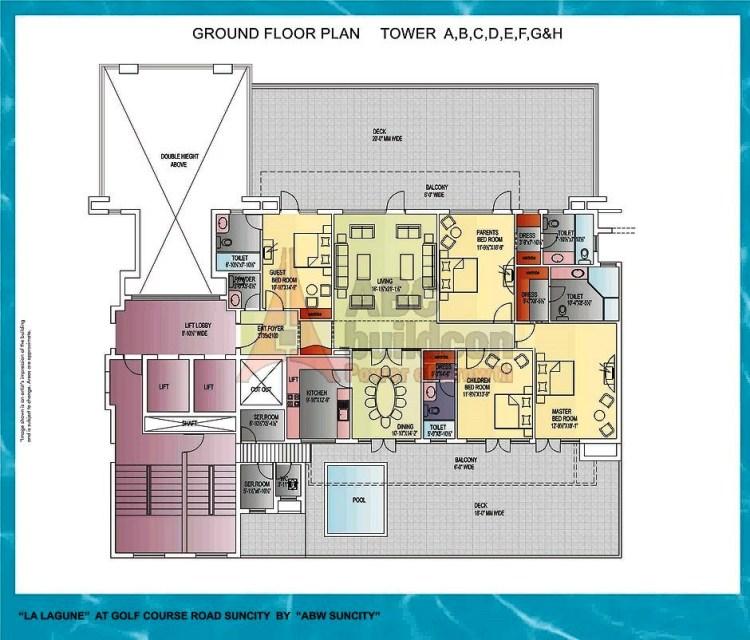Suncity La Lagune Floor Plan 4 BHK + S.R + Deck – 4050 Sq. Ft.