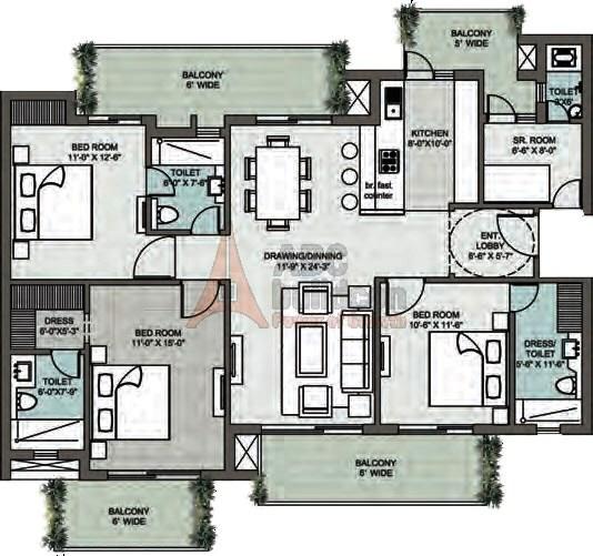 Supertech Araville Floor Plan 3 BHK + S.R – 2215 Sq. Ft.