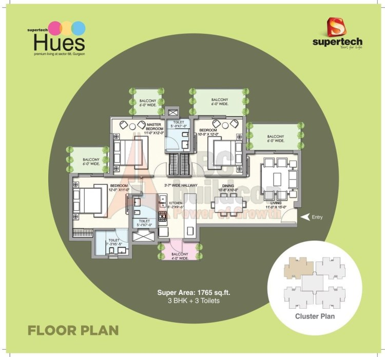 Supertech Hues Floor Plan 3 BHK – 1765 Sq. Ft.