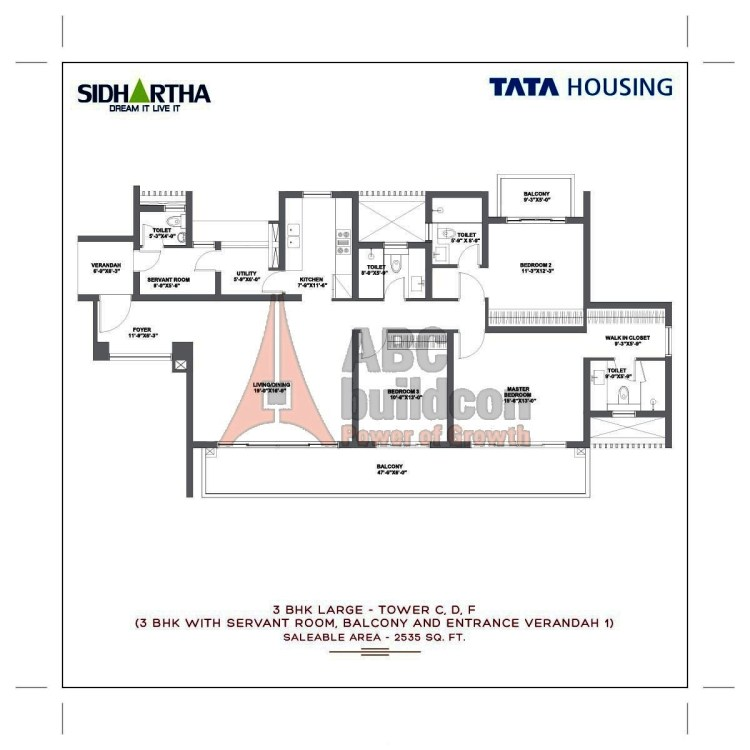 TATA Gurgaon Gateway Floor Plan 3 BHK + S.R + Utility – 2535 Sq. Ft.