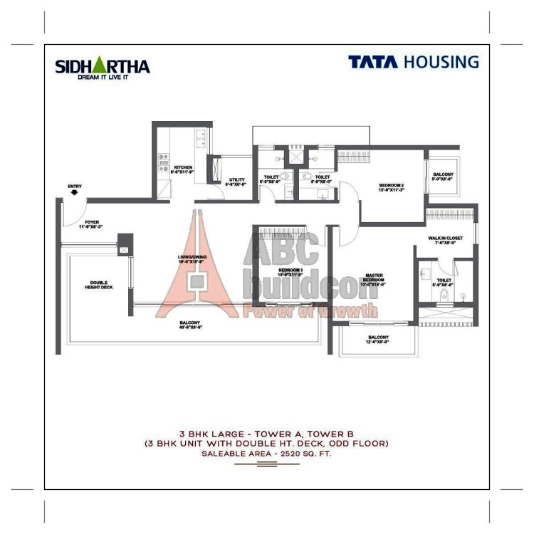 TATA Gurgaon Gateway Floor Plan 3 BHK + Utility – 2520 Sq. Ft.
