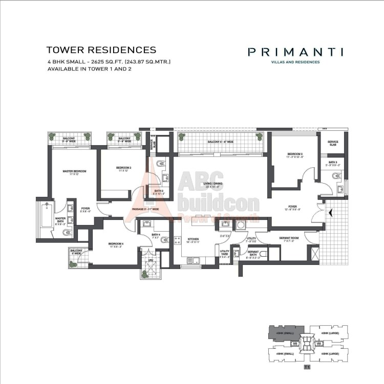 TATA Primanti Floor Plan 4 BHK + S.R + Utility – 2625 Sq. Ft.
