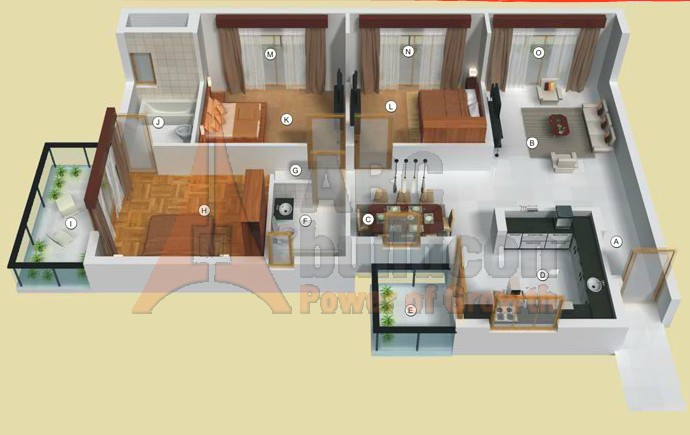 TATA Raisina Residency Floor Plan 3 BHK – 1705 Sq. Ft.