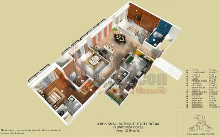 TATA Raisina Residency Floor Plan 3 BHK + Study – 2319 Sq. Ft.