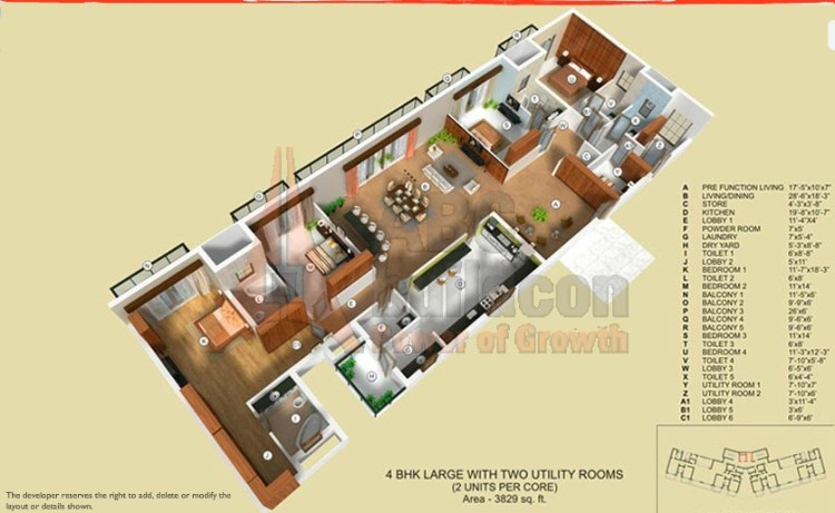 TATA Raisina Residency Floor Plan 4 BHK + 2 Utility + Store – 3289 Sq. Ft.