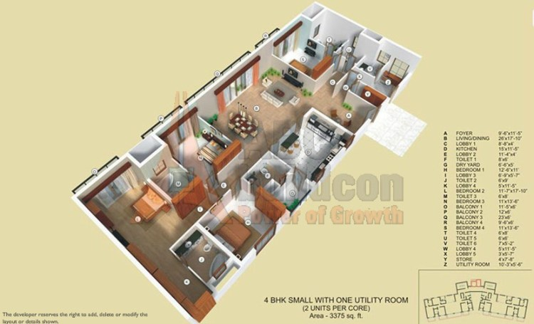TATA Raisina Residency Floor Plan 4 BHK + Utility + Store – 3375 Sq. Ft.
