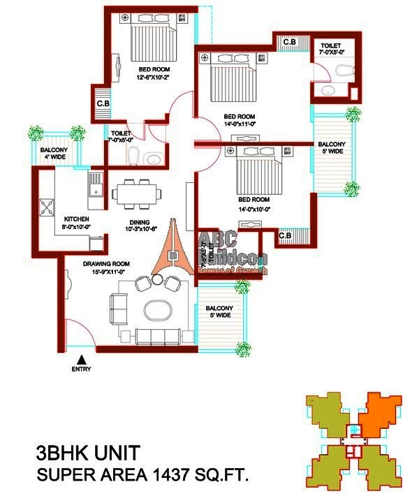 Tulip Orange Floor Plan 3 BHK – 1437 Sq. Ft.