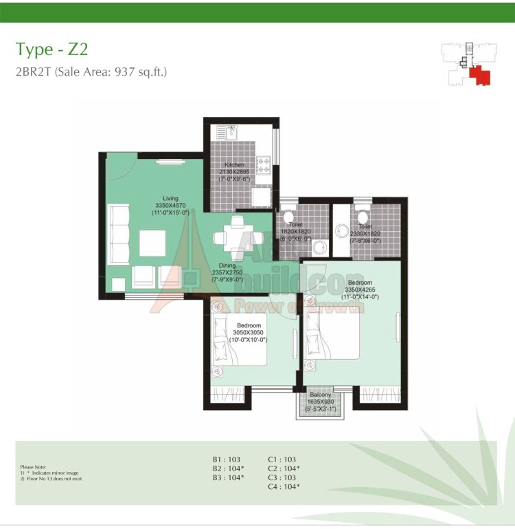 Unitech Uniworld Gardens 2 Floor Plan 2 BHK – 937 Sq. Ft.
