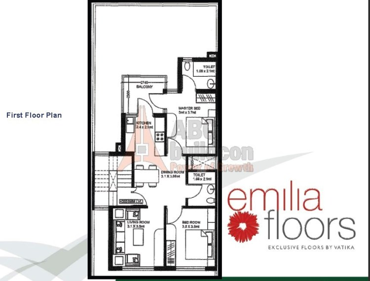 Vatika Emilia Floor Plan 2 BHK – 921 Sq. Ft. -  1st Floor