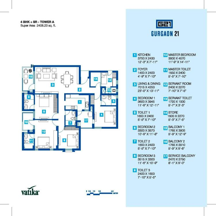 Vatika Gurgaon 21 Floor Plan 4 BHK + S.R– 2408 Sq. Ft.