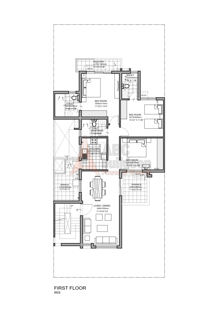 Vatika Iris Floor Plan 3 BHK + S.R – 1384 Sq. Ft. (1st Floor)