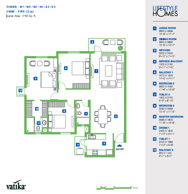 Vatika Lifestyle Homes Floor Plan 3 BHK – 1750 Sq. Ft.
