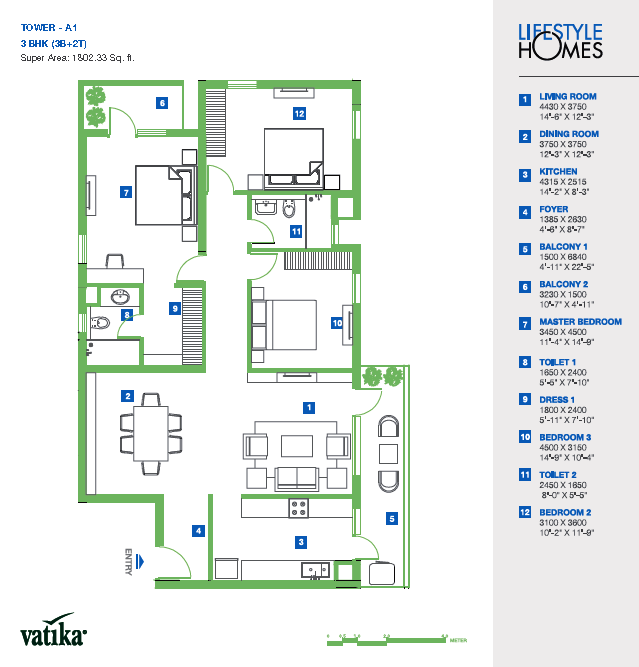 Vatika Lifestyle Homes Floor Plan 3 BHK – 1802 Sq. Ft.