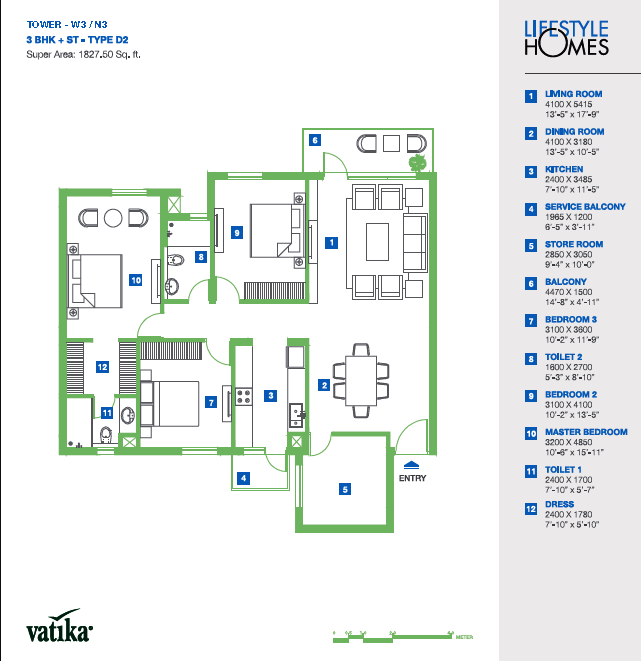Vatika Lifestyle Homes Floor Plan 3 BHK – 1827 Sq. Ft.