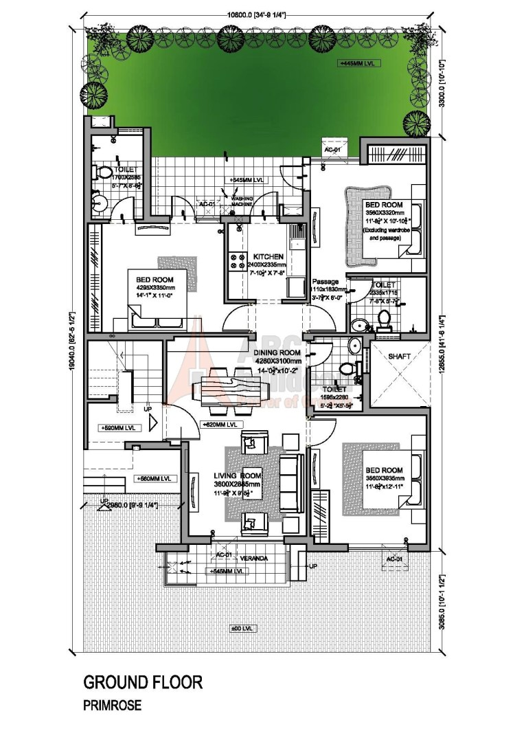 Vatika Primrose Floor Plan 3 BHK – 1245 Sq. Ft.