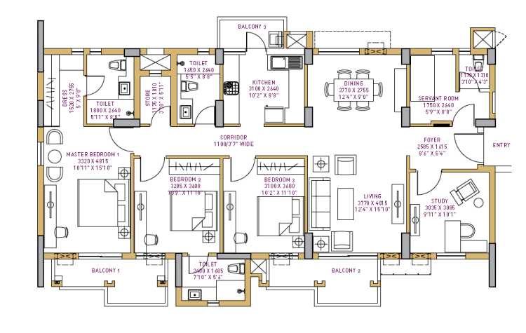 Vatika Seven Lamps Floor Plan 3 BHK + Study + S.R – 2158 Sq. Ft.