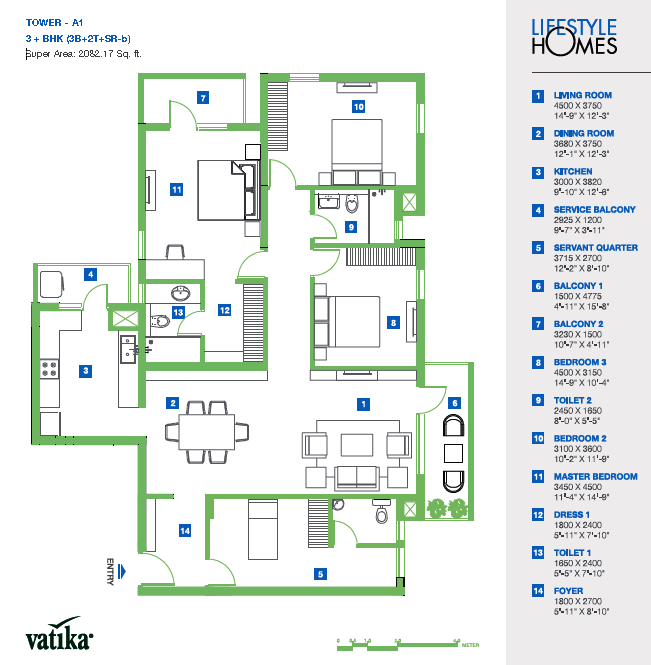 atika Lifestyle Homes Floor Plan 3 BHK + S.R – 2082 Sq. Ft.