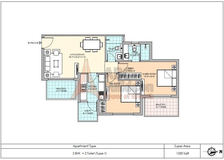 1. M3M Sierra Floor Plan 2 BHK – 1200 Sq. Ft.