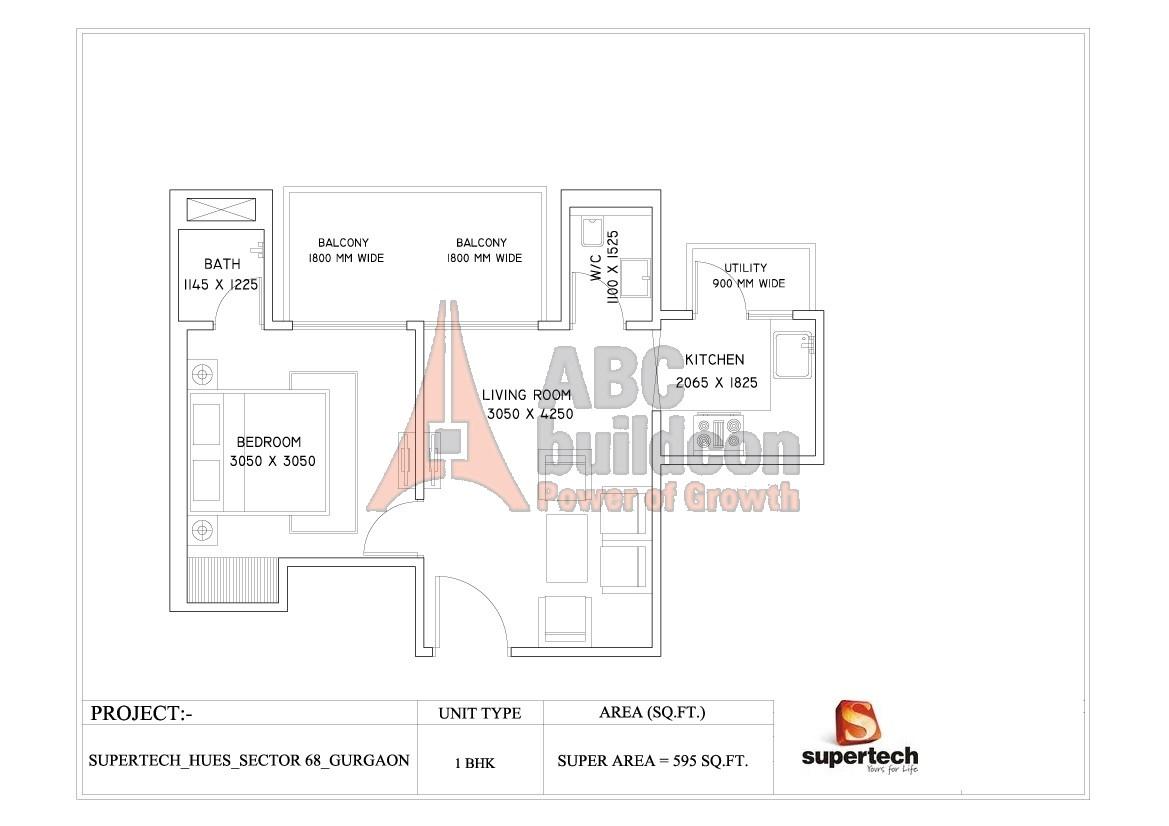 Supertech azaliya floor plan 3 bhk 1225 sq ft archives for 1 bhk floor plan