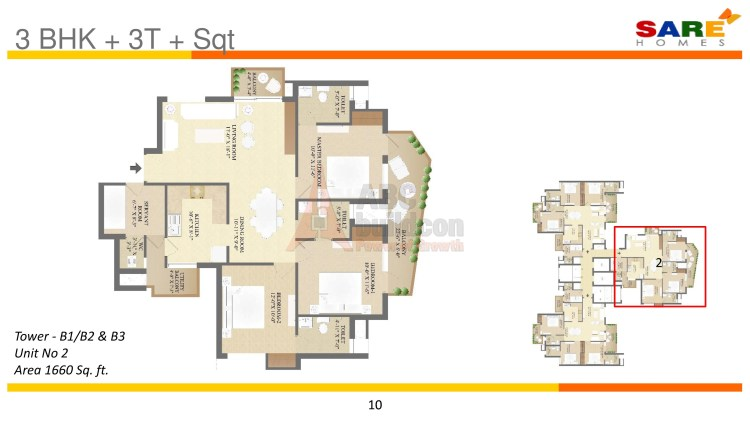3. Sare Olympia Floor Plan 3 BHK (Unit 3) – 1600 Sq. Ft.
