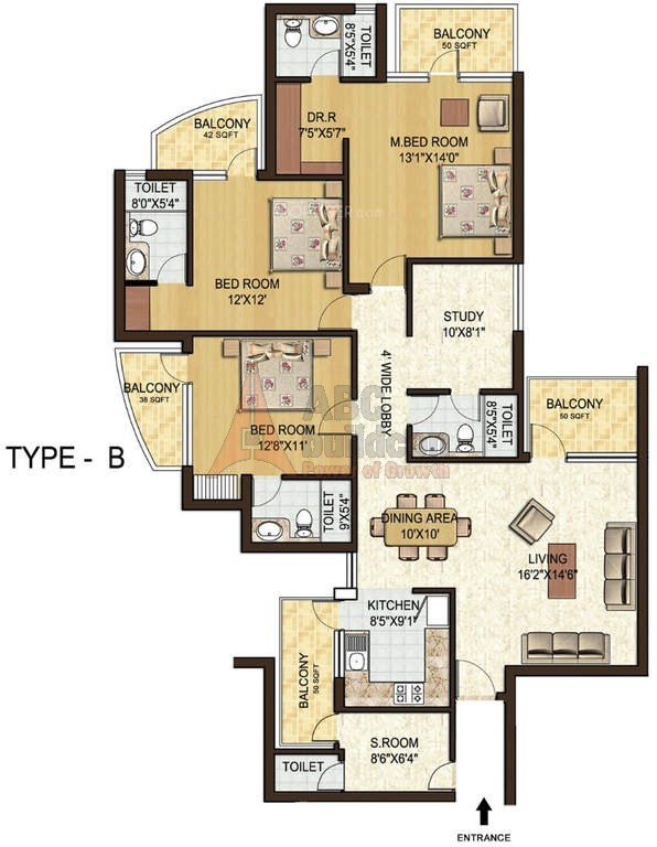 3. Spaze Privy Floor Plan 3 BHK + S.R + STUDY – 2077 Sq. Ft.