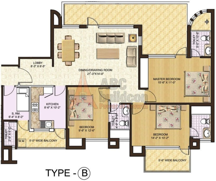 5. Spaze Privy Floor Plan 3 BHK + S.R – 2558 Sq. Ft.