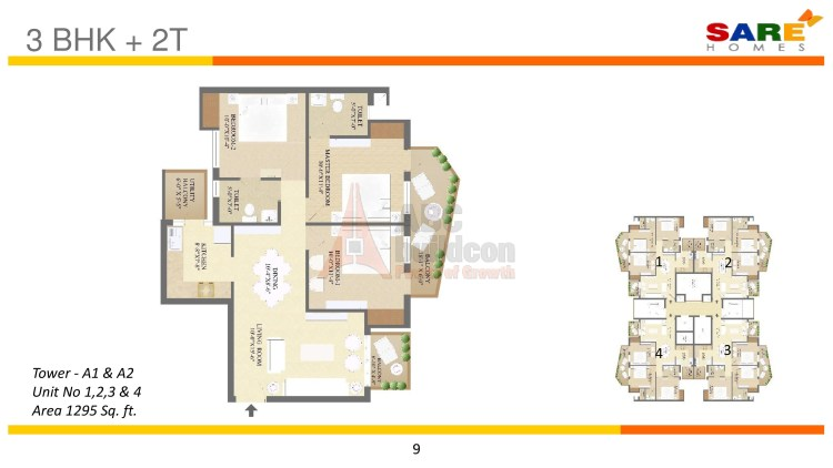 Sare Olympia Floor Plan 3 BHK – 1295 Sq. Ft.