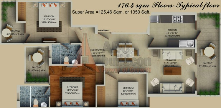 1. Supertech Hill Crest Floors Floor Plan 3 BHK – 1350 Sq. Ft.