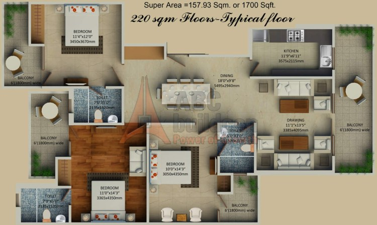 3. Supertech Hill Crest Floors Floor Plan 3 BHK – 1700 Sq. Ft.