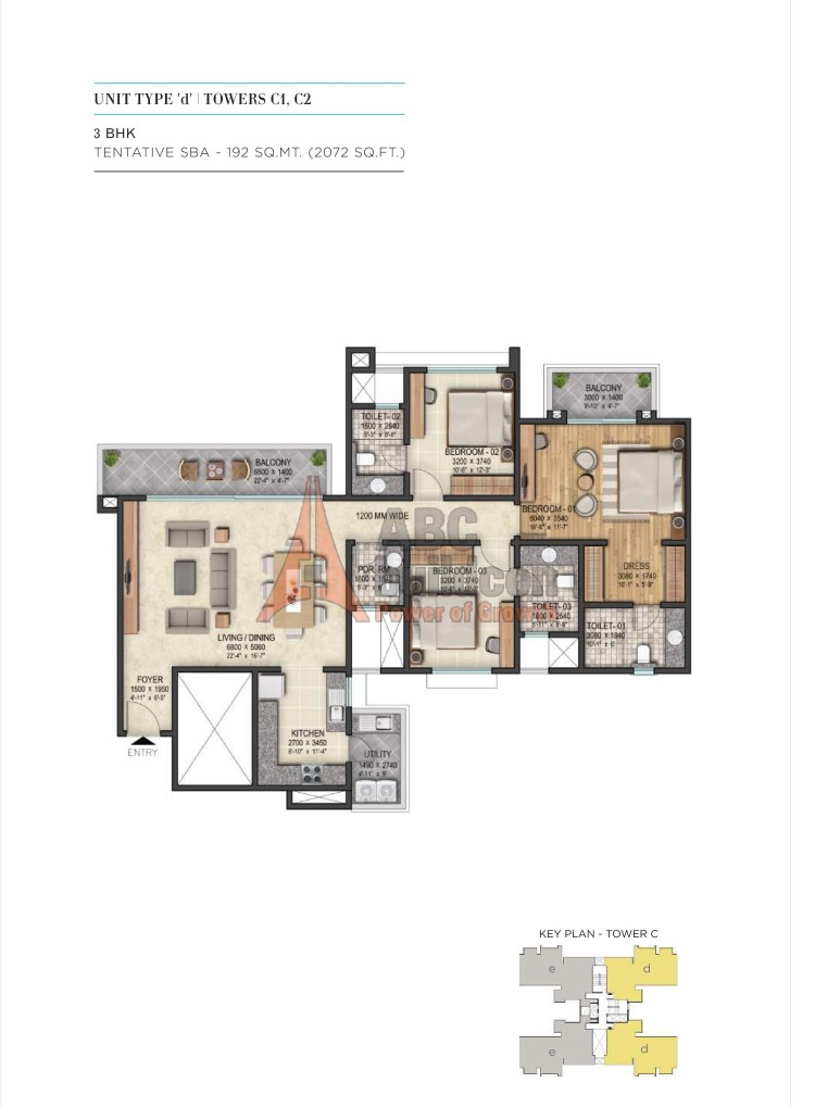 4. Sobha City Floor Plan 3 BHK + Utility – 2072 Sq. Ft.