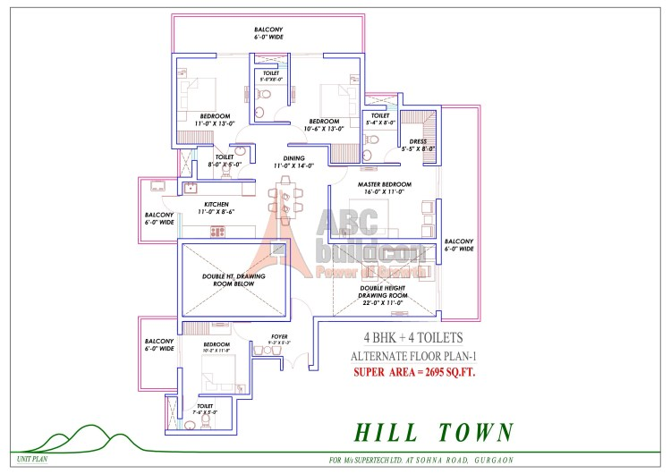 6. Supertech Hill Floor Plan 4 BHK – 2695 Sq. Ft.