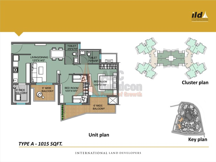 2. ILD GSR Drive Floor Plan Plan 3 BHK – 1015 Sq. Ft.