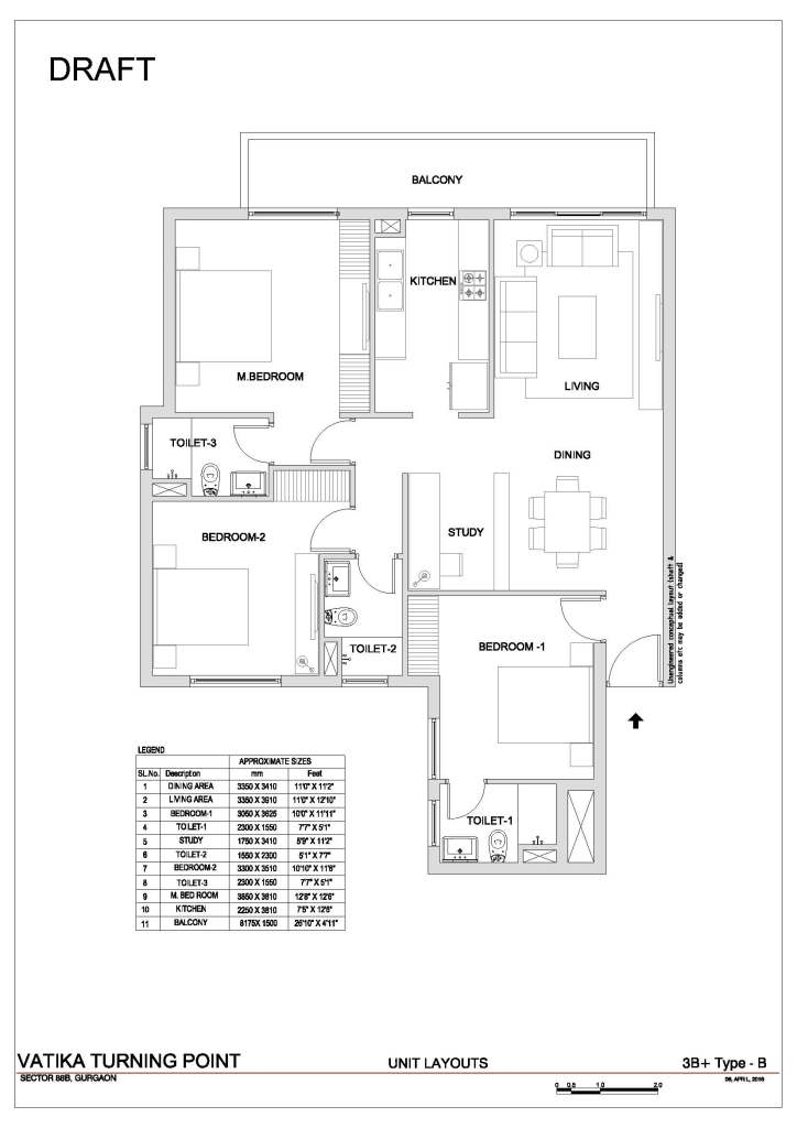 3. Vatika Turning Point Floor Plan 3 BHK + S.R – 1650 Sq. Ft.