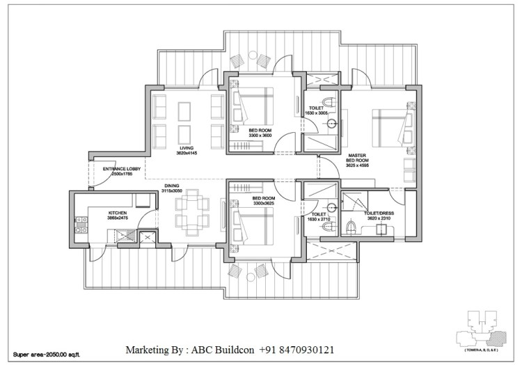 2. Bestech Park View Altura Floor Plan 3 BHK – 2050 Sq. Ft.